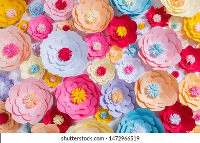 Colorful handmade paper flowers background. Perfect for greeting card and backdrops.