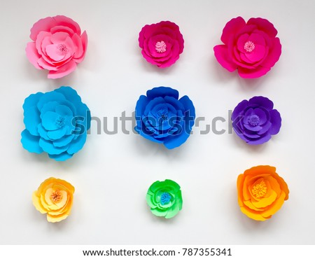 Colorful handmade paper flowers isolated on stock photo edit now colorful handmade paper flowers isolated on white background for wedding invitation or birthday card mightylinksfo
