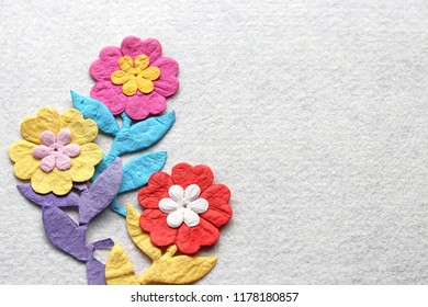 Felt paper images stock photos vectors shutterstock colorful handmade paper flowers and leaves on white felt background concept for party wedding mightylinksfo