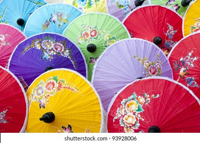 Colorful handmade umbrella's Bo Sang village Northern Thailand