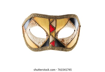 Colorful handmade Venetian mask isolated on white background, front view