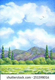 Colorful handmade watercolour cheerful backdrop with space for text. Flock of birds over light green sunlight grassland with thick grove before high rocky mountains on horizon in warm summertime day