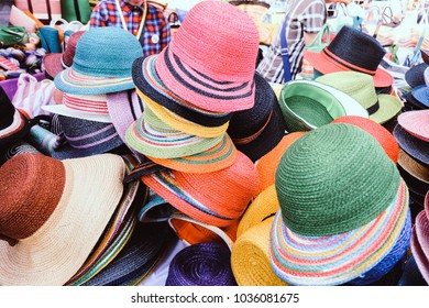 Colorful Handmade woven hat in Thai style selling at Bangkok market street. A popular export product and souvenir from Thailand. Woman Fashion. Asian Product. Asian Fashion.