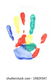 Colorful handprint isolated on white