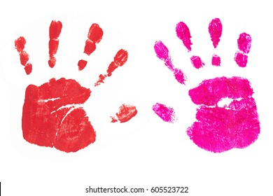 Colorful handprints handpainted by children isolated on a white background