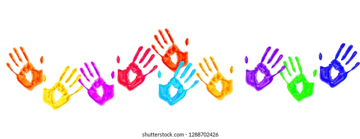 Colorful handprints isolated on a white background