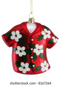 Colorful hanging Christmas ornament of Hawaiian shirt; isolated on white