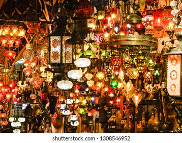 Colorful hanging glass and brass lamps in Grand Bazaar, Istanbul, Turkey