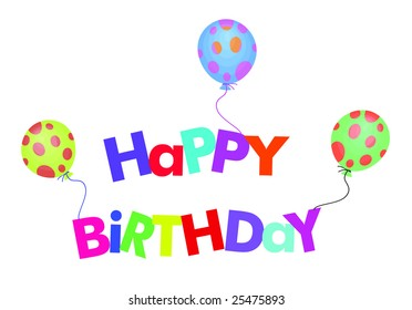 colorful happy birthday sign with balloons