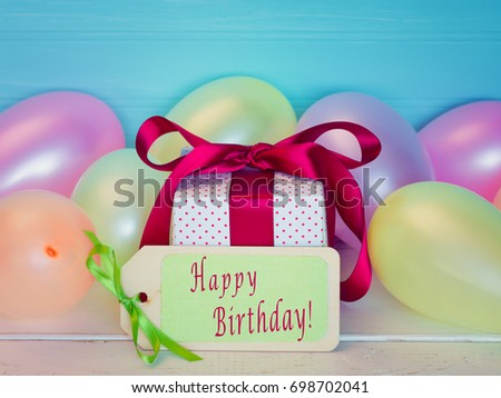 Colorful Happy Birthday To You Gift Balloons And Written Words Or Text On A Name