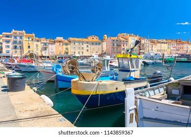 colorful harbor famous resort Saint Tropez on french riviera, cote d'azur, France