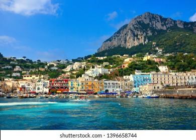 Colorful harbor, Marina Grande on the beautiful Mediterranean island of Capri, Italy