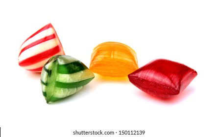 Colorful hard candies isolated on white background