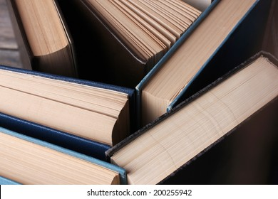 Colorful hardback and paperback books, close-up