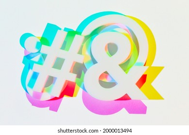 Colorful, Hashtag, Ampersand. Photograph (Made with camera, objects and light)