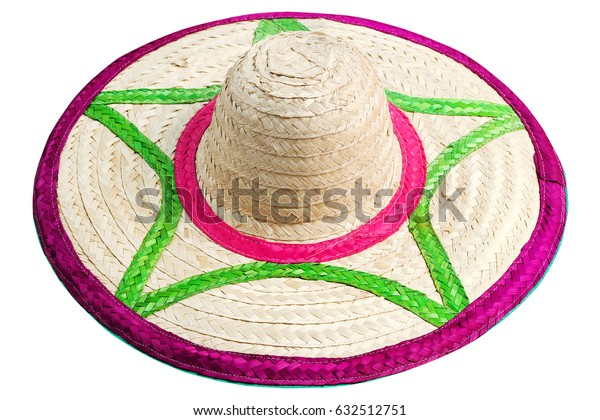 colorful hat made of woven bamboo isolated on white background