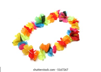 A colorful Hawaiian lei with bright colorful flowers
