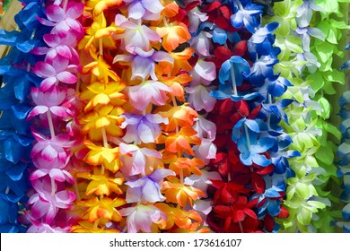 Colorful Hawaiian lei flowers