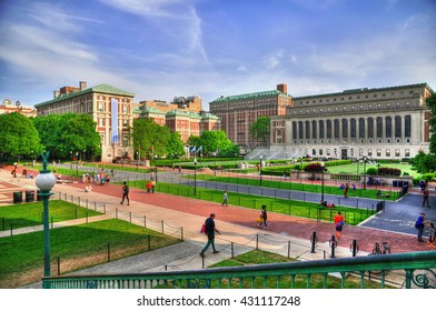 Colorful HDR image of the Central Quadrangle and Butler Library in New York City's Columbia University, an Ivy League school