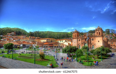 Colorful HDR image of the city center of Cusco - Plaza De Armas, Peru