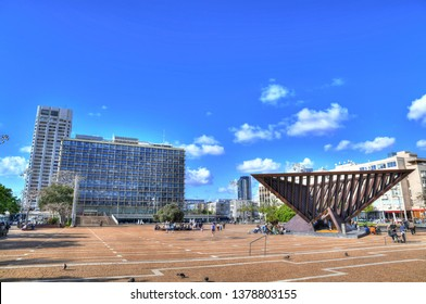 Colorful HDR image of the famous Rabin Square (formerly Kings of Israel Square) in the center of Tel Aviv, Israel