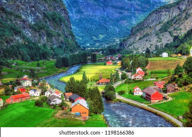 Colorful HDR image of Flam -  A small village in a green background between the fjords in Norway
