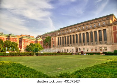 Colorful HDR image of the front of the Central Quadrangle and Butler Library in New York City's Columbia University, an Ivy League school