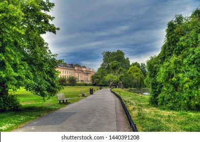 Colorful HDR image of The Regent's Park in London on beautiful blue sky