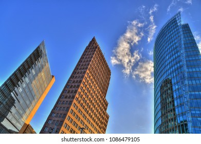 Colorful HDR image of skyscrapers near Potsdamer Platz in the center of Berlin