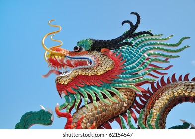 Colorful Head Of Dragon Statue with Blue sky