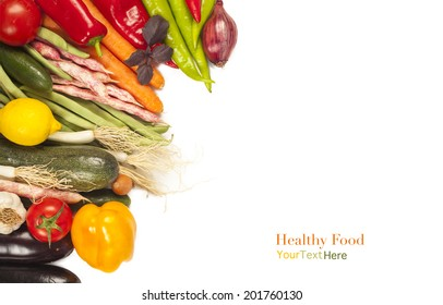 Colorful healthy fresh vegetables on white