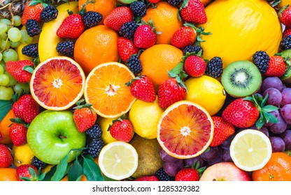 colorful healthy fruits - Shutterstock ID 1285329382