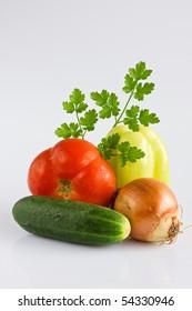 Colorful healthy whole fresh vegetables, arrangement
