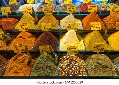 Colorful heap of spices on sale at Istanbul Spice Bazaar (Egyptian Bazaar), Turkey,