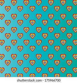 Colorful hearts on turquoise background