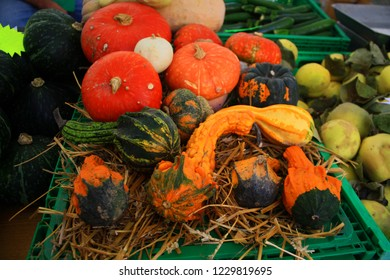 Colorful heirloom squashes displayed at a local market in Modena, Italy