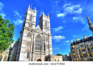 Colorful high dynamic range (HDR) image of of the famous Westminster Abbey in the Center of London on dramatic blue sky