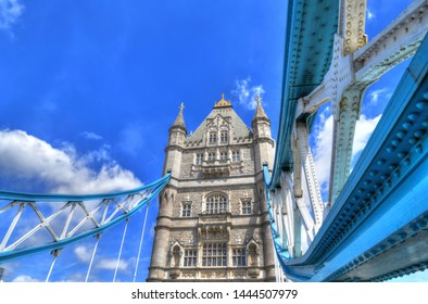 Colorful high dynamic range (HDR) image of the Tower Bridge in London - wide angle and close up detailed image