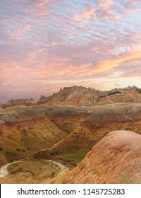 The Colorful Highly Eroded Hills of the Badlands of South Dakota at Sunset