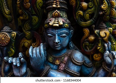 colorful Hindu god wood statue
