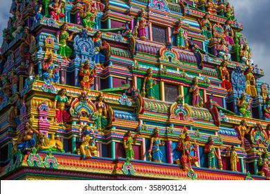 Colorful hindu temple. Reunion island, France.