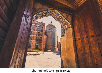 Colorful historic door and the 14th century Sheikh Safi tomb in Ardabil, Iran