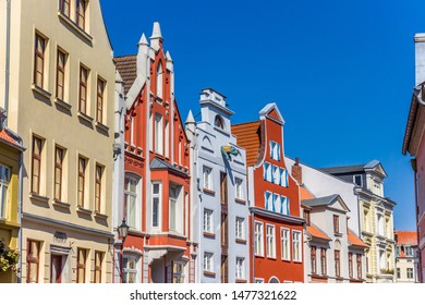 Colorful historic facades in the center of Wismar, Germany
