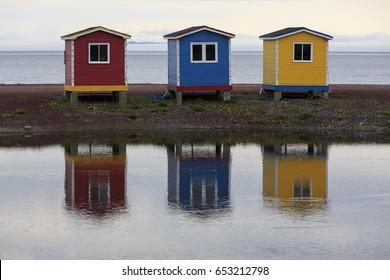 Colorful  historic fish storage sheds, Newfoundland and Labrador, Canada.