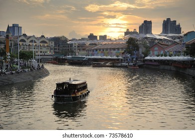 Colorful Historic Houses by Singapore River at Clarke Quay