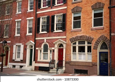 colorful historical houses in Philadelphia, Pennsylvania