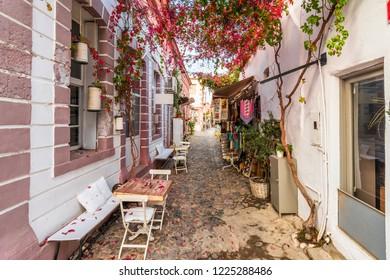 Colorful historical street view in Cunda Island of Ayvalik Town.