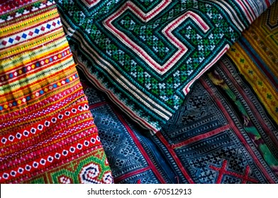 Colorful Hmong Hilltribe fabric/cushion cover and throw for sale in Chiang Mai Thailand