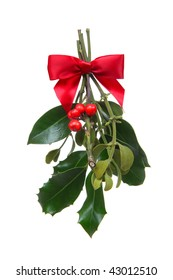 Colorful holiday Christmas mistletoe isolated over white background