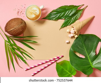 colorful holidays background with tropical leaves and coconut, flat lay